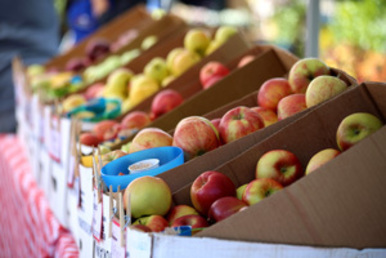 Baskets of apples to sample at the Gresham Farmers' Market