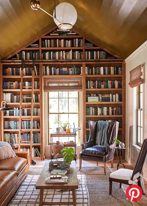 A library with oak shelves