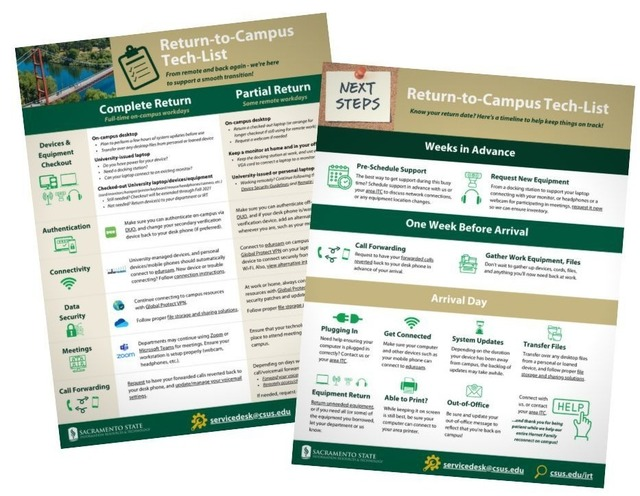 Decorative image of return to campus tech list flyers
