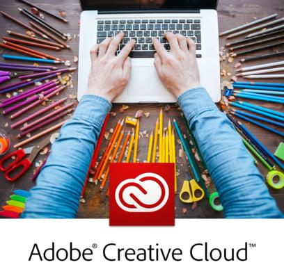 decorative image of Adobe Creative Cloud logo and laptop computer