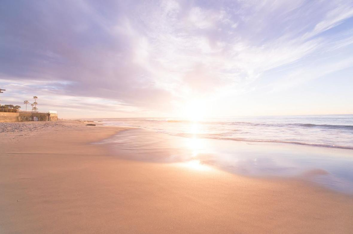 Image of a beach at sunset