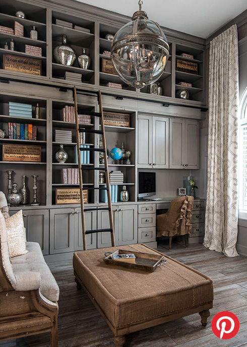 A wood-paneled library