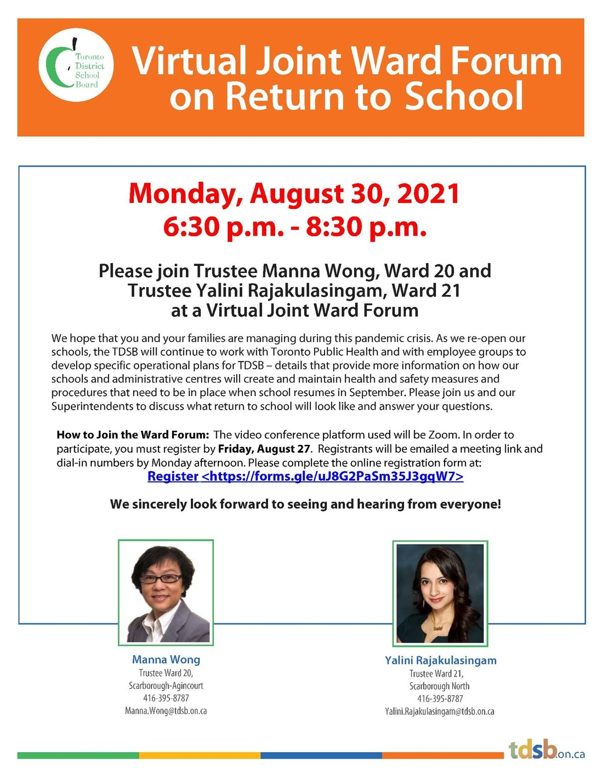 Flyer for Ward 20 and Ward 21 Virtual Ward Forum