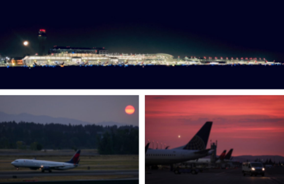 Three shots of PDX- the terminal and moon from the north perimeter road; a smoky, yet spectacular sunset; and the glow of moonlight as a plane prepares for takeoff.