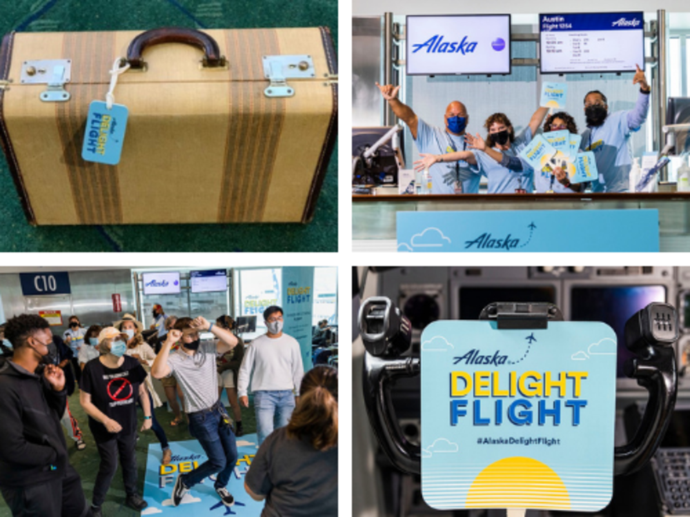 Collage of Alaska Airlines delight flight images: a suitcase on PDX carpet, PDX Alaska employees at the gate counter, passengers at gate C10 dancing, and a sign on the steering mechanism of the airplane reading,