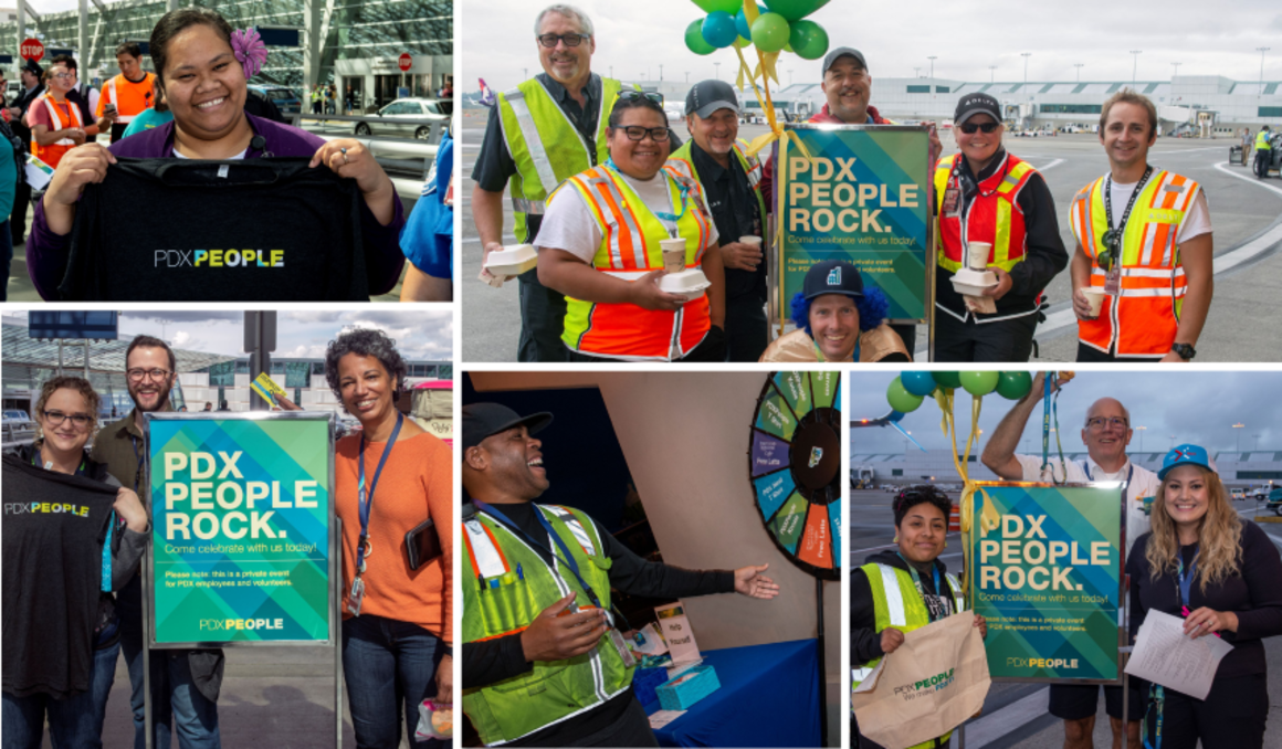 Collage of airport employees at various PDX People celebrations, holding PDX People t-shirts, standing in front of