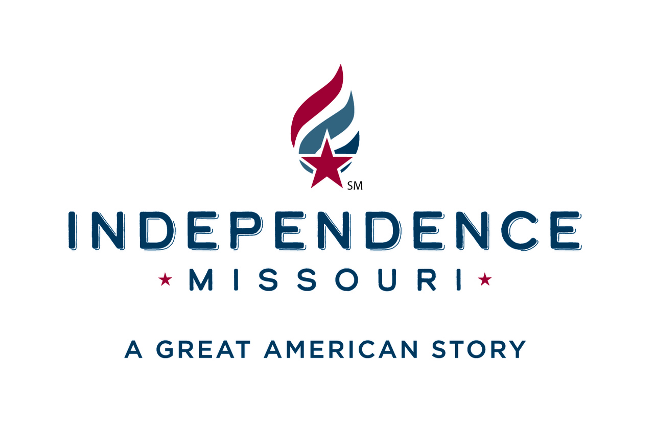 City of Independence logo - tri-colored flame with dark red, blue and navy. Red star at the lower end of the flame. Independence stacked over Missouri with stars on either side of Missouri. A Great American Story at bottom.