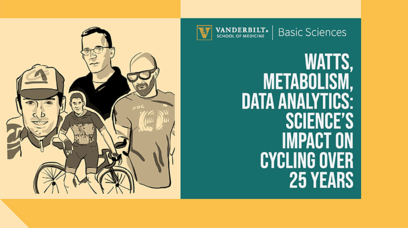 On the left, cartoon images of the moderator and panelists for this Lab-to-Table event (one panelist is leaning on a bicycle). On the right, the title of the event: