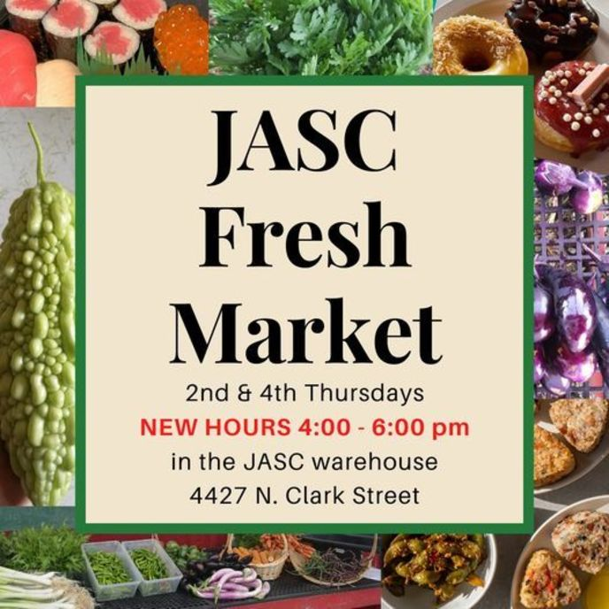 Flyer for JASC Fresh Market with pictures of food found at the market