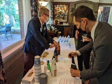 Stephen Lyman at the tasting table for Japanese Shochu and Awamori sake
