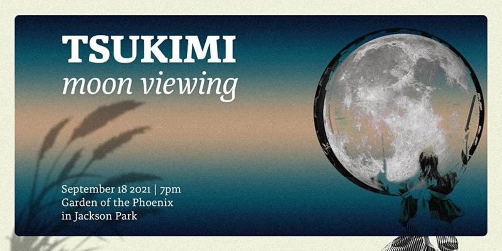 Tsukimi moon viewing flyer with a painting of the moon on the right