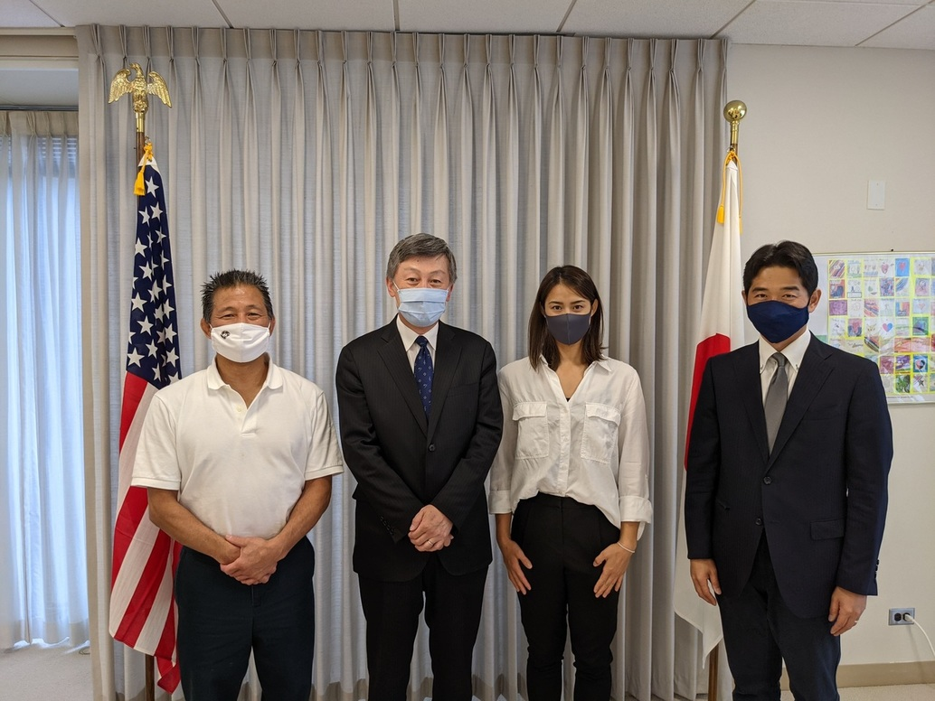 left to right: Douglas Tono, CG Okada, Megumi Ishikawa, Consul Tsutomu Shibata