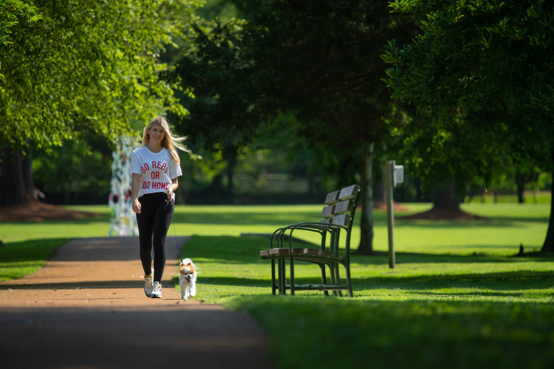 Student walking dog in the park