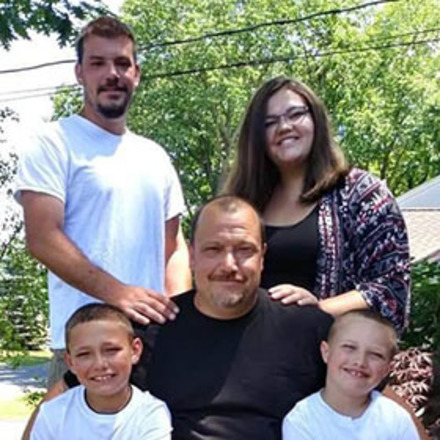 Dana-Farber patient Michael Voisine with his family