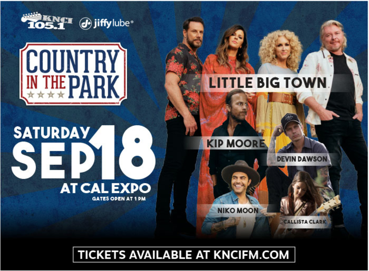 Country in the Park. Saturday, Sep 18 at Cal Expo. Gates open at 1 pm