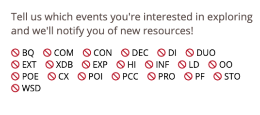 Tell us which events you're interested in exploring and we'll notify you of new resources