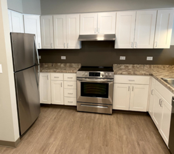 A kitchen at the Grant Street Apartments.