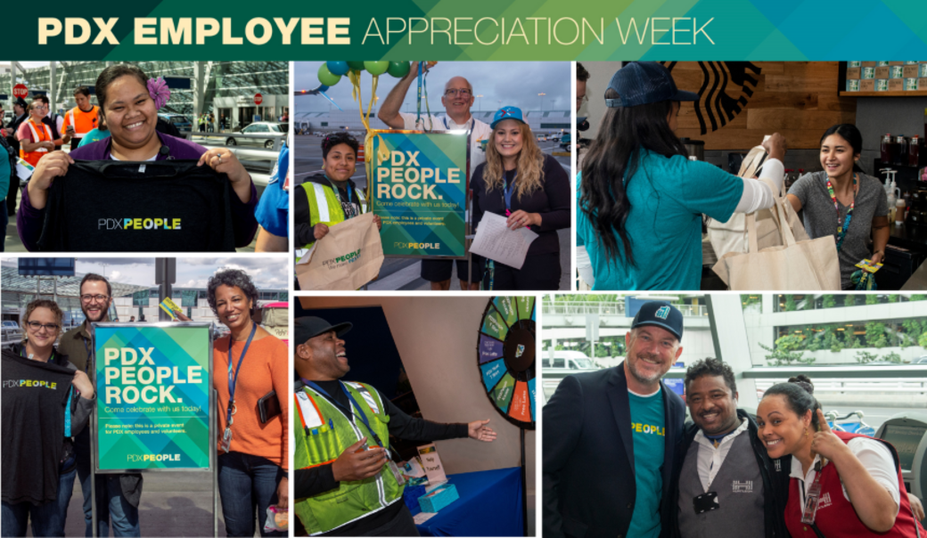 Collage of PDX People smiling, holding PDX People swag and celebrating at various employee events.