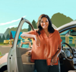A smiling lady standing beside her SUV with the door open
