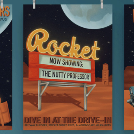 Graphic illustration of a drive-in movie marquee