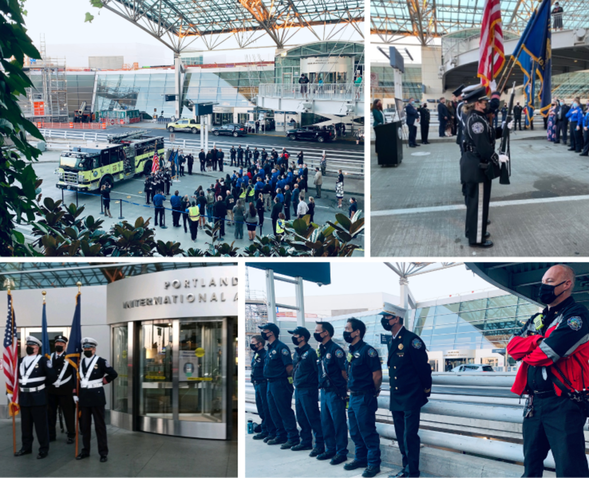 Collage of images from the 9-11 commemoration at PDX: top left, an aerial view of the gathering, top right, TSA and port of Portland honor guard, bottom left, honor guard members holding flags in front of PDX, bottom right, first responers in uniform watching the proceedings.