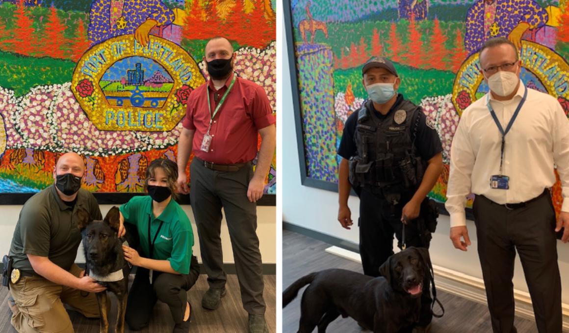On the left, K9 Detective TJ Eriksen, K9 partner Moko, a shepherd dog, Angelica Pipo and Ryan Youngken. On the right, Officer Ramiro Martinez, K9 partner Shadow, a black lab and Alaska Airline's Joe Gutierrez.