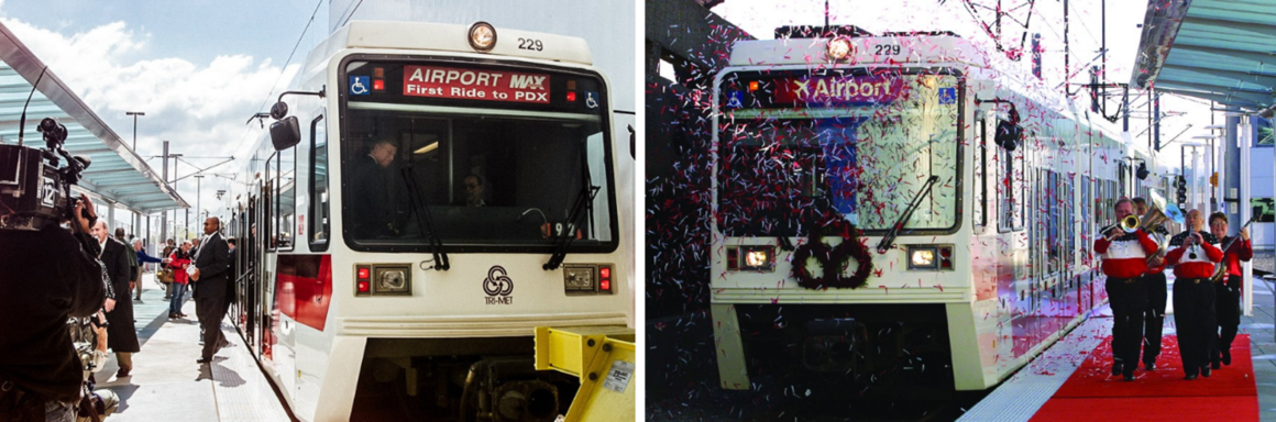 Two vintage pictures of TriMet MAX Red Line on its first ride to PDX.