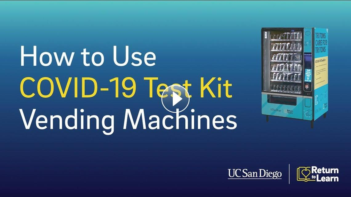 Video about how to use COVID-19 test kit vending machines at UC San Diego