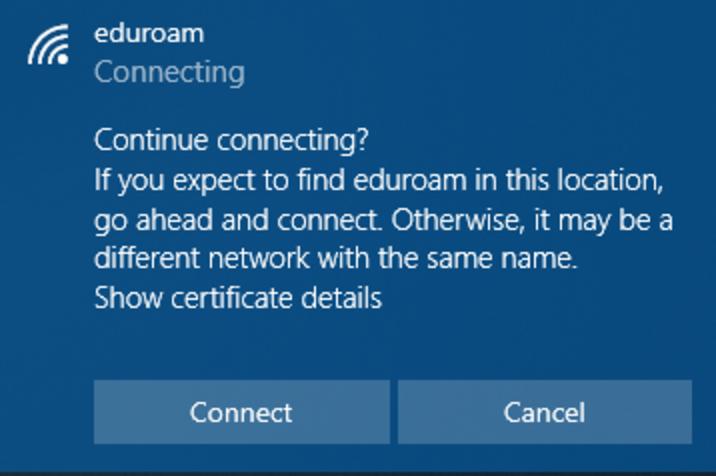 Windows eduroam Certificate Screenshot