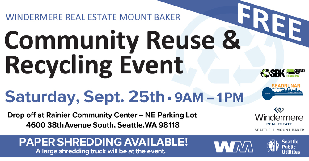 Community Reuse and Recycleing Event. Saturday, September 25th, 9am - 1pm
