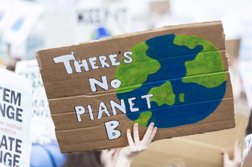 hand holding a painted sign saying 'there is no planet b
