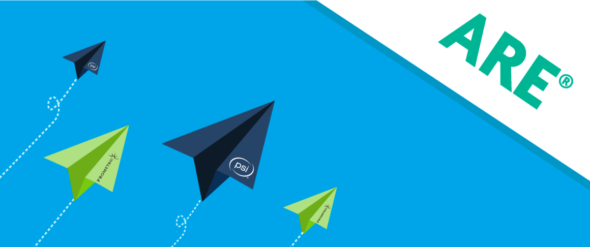 Illustration of paper airplanes with PSI and Prometric logos, all heading towards the ARE® text.