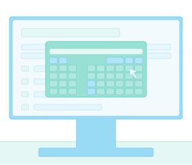 Illustration of the exam calculator on a desktop computer.