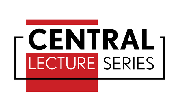 Red, black and white Central Lecture Series logo