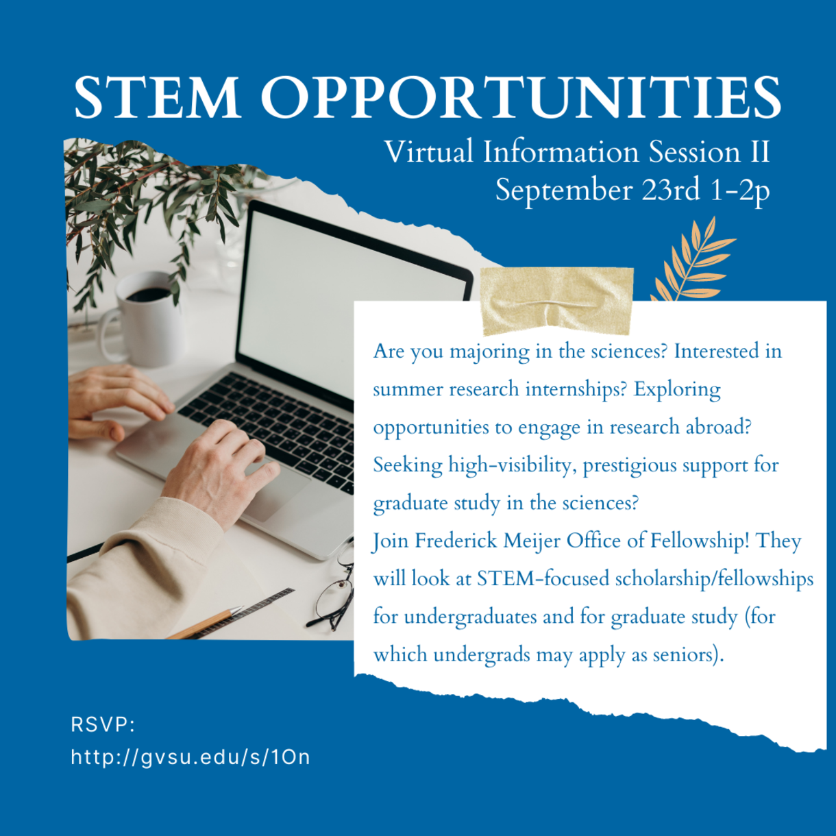 STEM Opportunities Virtual Information Session 2 on September 23rd from 1 to 2p