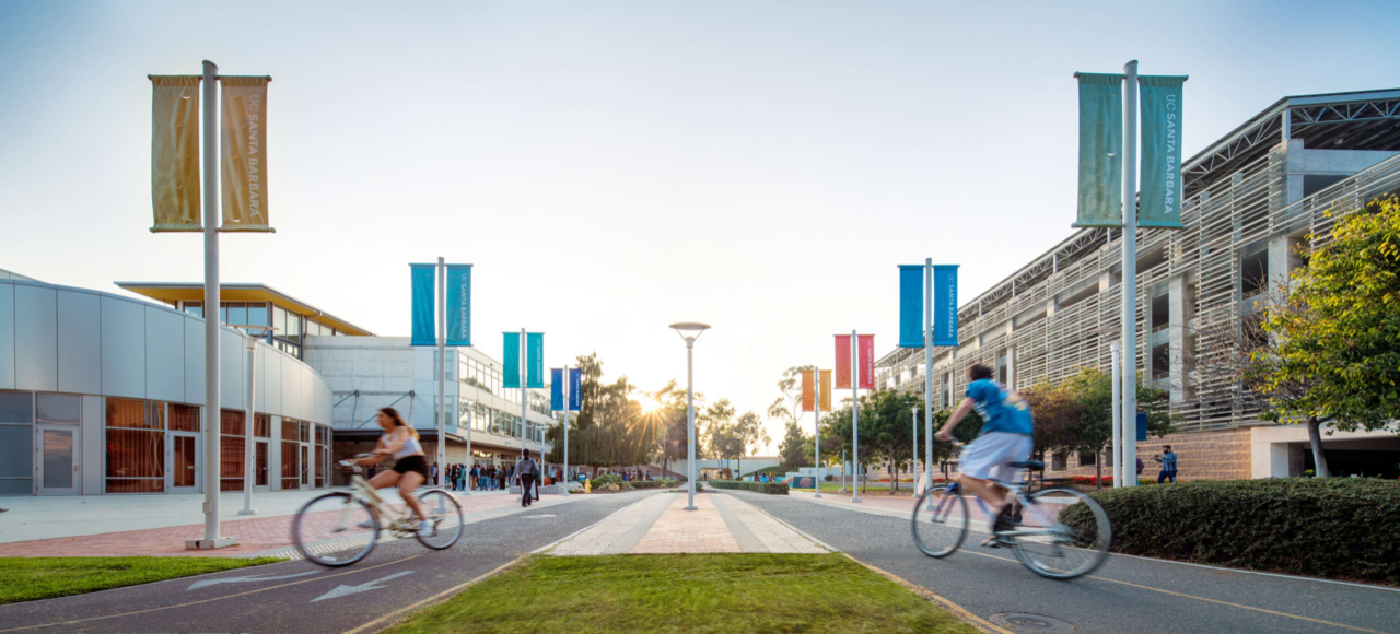 Students navigating the bike paths near the Student Resource Building and Pardall Tunnel