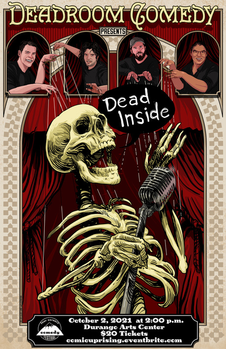 Deadroom Comedy promo poster with a laughing skeleton