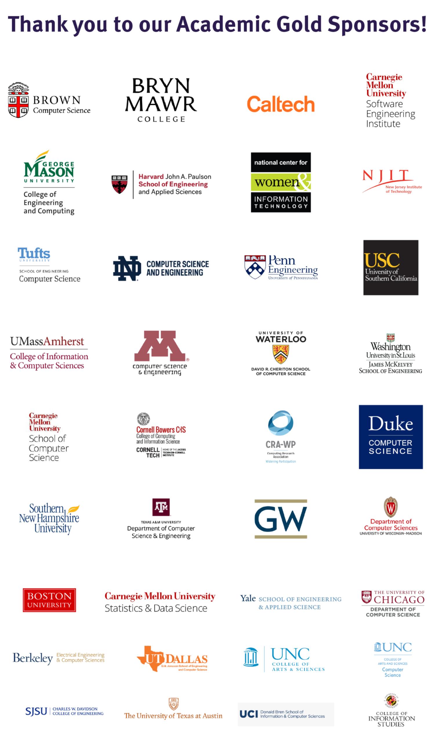 vGHC 21 Gold Academic Sponsors