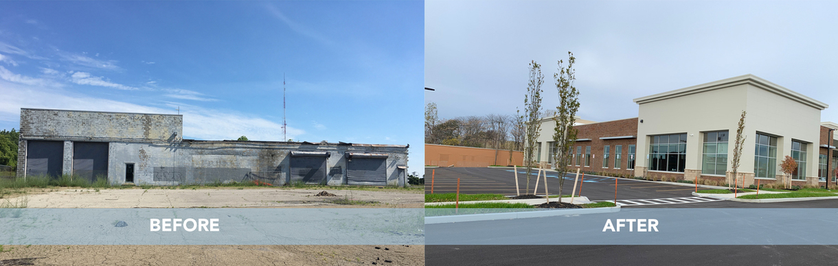 A before and after image of the new building.