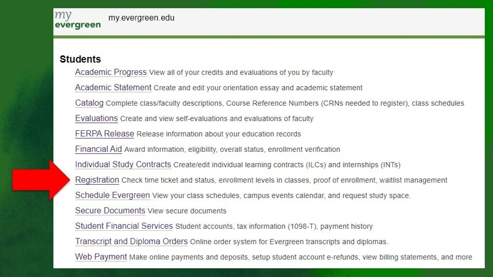 Image of Online Student Portal at Evergreen