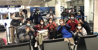 Photo of international students at SeaTac airport