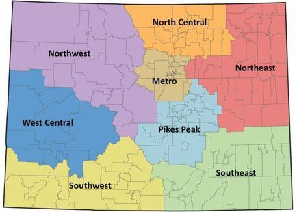 Map showing 8 Colorado regions