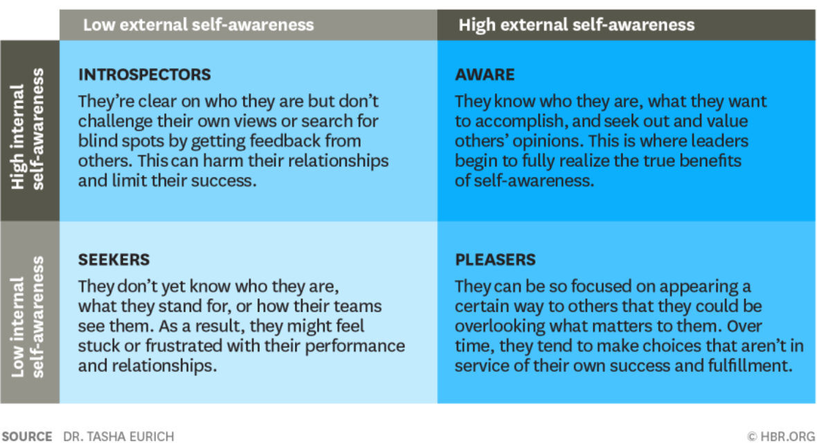 The four archetypes of self awarness table divided into introspectors, seekers, aware, and pleasers.