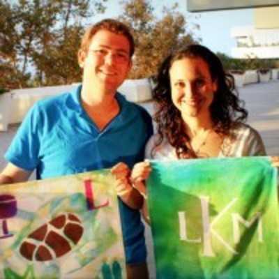 Friends holding homemade challah covers