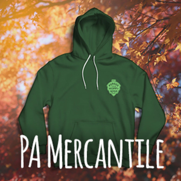 A green hooded sweatshirt with a Pursue Your Hoppiness hop cone shaped logo on the chest.