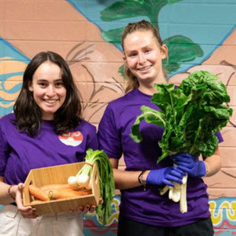 Students holding fresh vegetables