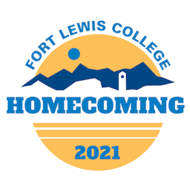 Fort Lewis College Homecoming 2021 logo with clocktower and campus skyline