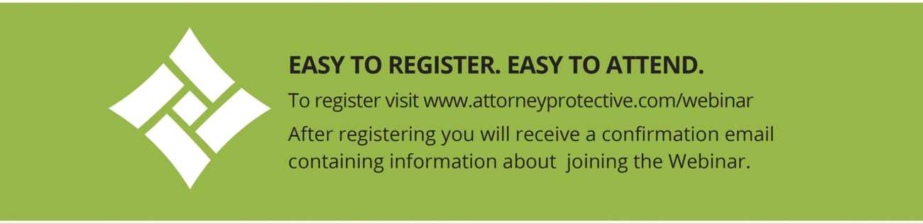 Attorney Protective Logo Easy to Register Easy to Attend